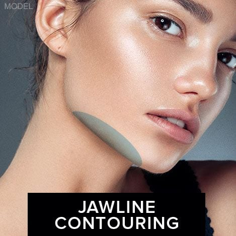 Model with jawline contour highlighted