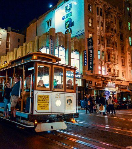 San Francisco trolley car at night.